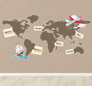 Adesivo murale che raffigura un planisfero nel quale i continenti sono identificati uno per uno. Ideale per la cameretta dei bambini.