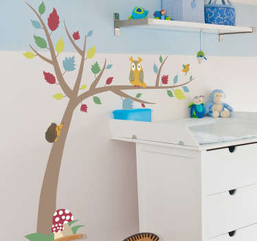 Sticker kinderkamer boom egel uil