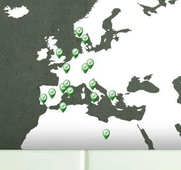 Autocolante mapa mundi com pins