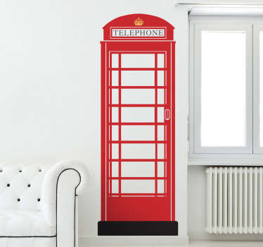 Red telephone box wall sticker to personalize the walls of your living room, bedroom and more! Use this simple wall decal to show off your love of England and English culture with this Great British phone box.