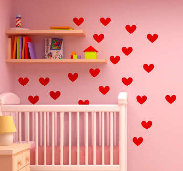 A set of love heart decals from our exclusive collection of heart wall stickers that will make your children's bedroom unique!