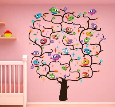 Vinilo infantil árbol lleno de pájaros