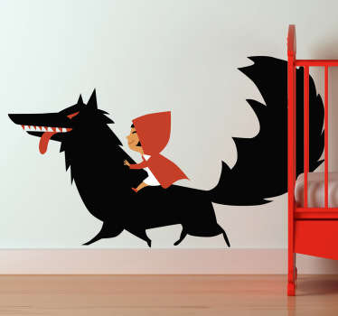 Kids Stickers - Illustration inspired by the childhood classic Red Riding Hood. This fairy tale wall sticker is perfect for creating a warm and colourful atmosphere in any child's bedroom or nursery.
