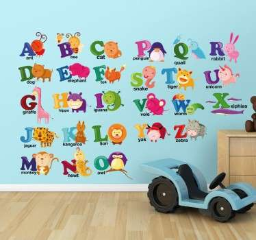 Vild djur alfabet vägg klistermärke
