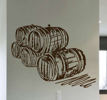 Classic wall sticker of a five wine barrels to decorate your wine cellar or bar to create a classic atmosphere for you and your guests. Available in various sizes and 50 colours.