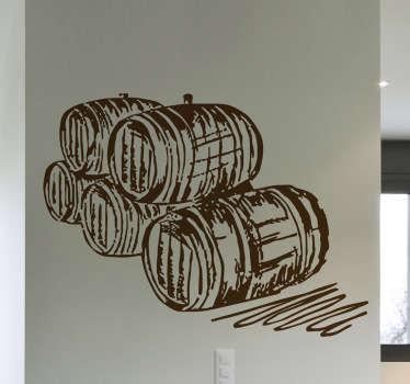 Muursticker tekening vaten wijn