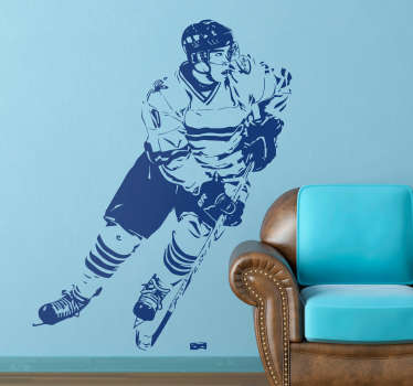This ice hockey wall sticker is an great design made for any fan of the cool sport. The ice hockey decal illustrates an ice hockey player dribbling with the puck.