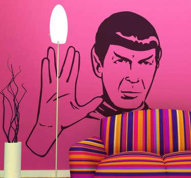 Si eres un trekie de verdad este dibujo en adhesivo del extraterrestre más famoso de Vulcano tiene que ser tuyo.