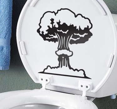 A sticker illustrating a nuclear bomb. Sticker filled with humour, ideal for your toilet decor.