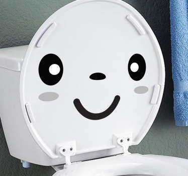 A design from our collection of funny wall stickers illustrating a smiling face that would look perfect on your toilet lid.