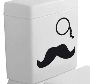 Mustasch & monocle toalett klistermärke