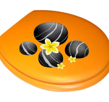 Make your toilet more comfortable and relaxing with this sticker! This decal features 4 classic black stones surrounded by yellow flowers.