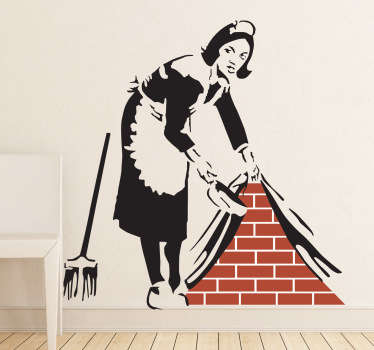 A street art wall sticker of the art piece made by the mysterious artist, Banksy. A lovely design from our collection of Banksy wall stickers! Design shows a monochrome maid sweeping dirt under behind the wall to reveal bricks, symbolising what? You decide.