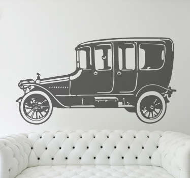 A vintage decal of an early design of a car. This sticker is perfect if you are trying to create a retro feel to your home.