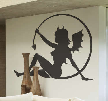 Djävulsk kvinna vägg klistermärke