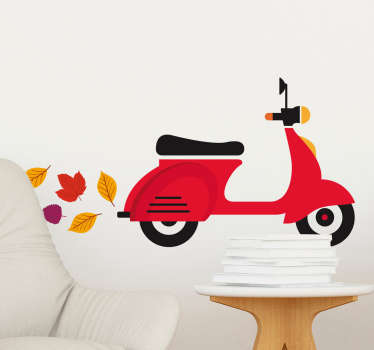 Room Stickers -  Modern design of a Vespa silhouette polluting the air with leaves. Eco-friendly.  Wall decals for styling your home.