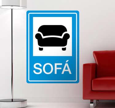 Para todos os amantes do sofá temos o perfeito vinil parede para vocês, a sinalizar o local do sagrado sofá para sentarem.