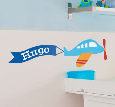 A great personalised kids wall sticker illustrating a plane flying across the sky with your child's name! Personalise your child's bedroom.