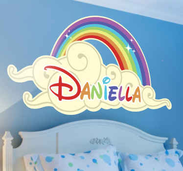 A personalised children's wall sticker with a bright and colourful design of a rainbow and cloud. Anti-bubble vinyl. High quality.