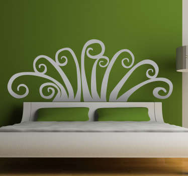 Abstract Floral Headboard Wall Decal