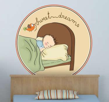 Sticker decorativo sogni d'oro bimbo