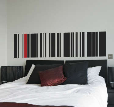 A superb design illustrating a barcode from our collection of lines stickers to decorate the bed headrest in your room.
