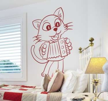 Vinilo infantil de gatito y acordeón