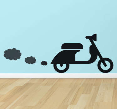 A silhouette design of an iconic Italian Vespa scooter that is leaving little clouds of smoke in the air.