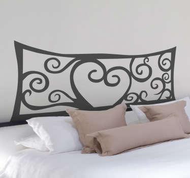 Autocollant mural tête de lit coeur