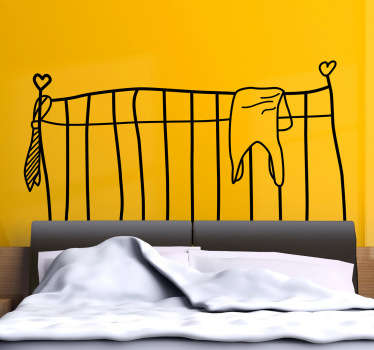 Fun headboard wall sticker to personalise your bedroom decor. Add a unique touch to your bedroom with this illustration of a classic metal bed frame with hearts on each bedpost drawn in a quirky way, available in 50 different colours to perfectly complement your wall.