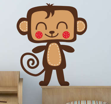 A cute smiling monkey from our exclusive collection of monkey wall stickers for children. Ideal to decorate the bedroom of the little ones!
