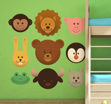 Sticker enfant têtes d'animaux