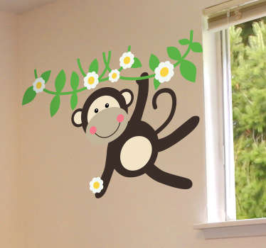 花のステッカーから揺れる猿