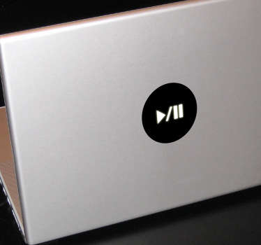 Play/Pause Button Laptop Sticker