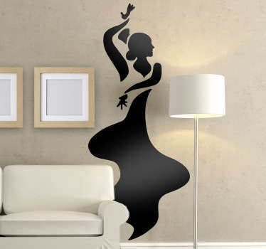 A great monochrome wall sticker illustrating a flamenco dancer dancing the night away! Great flamenco decal for those that love this type of dance.