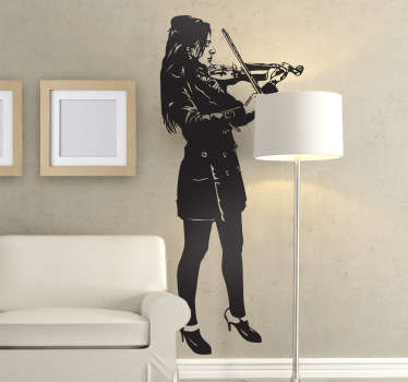 Sticker decorativo ragazza con violino