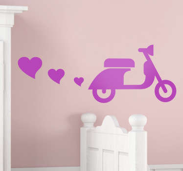 Room Stickers -  Modern design of a Vespa silhouette polluting the air with love hearts. Select your size and colour.