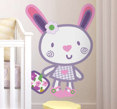A playful and fun illustration of an adorable cute rabbit dressed up from our collection of rabbit wall stickers.