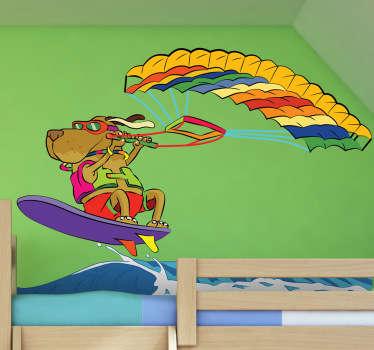 Vinil parede cão windsurf