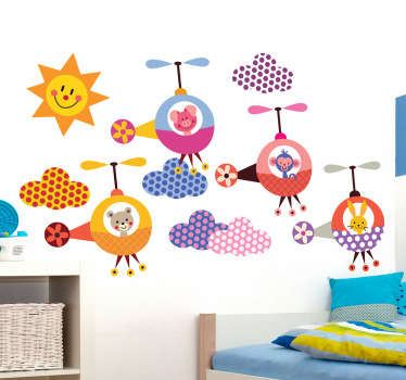 Kids Wall Stickers - Playful and fun illustrations of adorable animals in helicopters with a happy sun and vibrant clouds. Colourful collection of stickers ideal for children. Available in various sizes. Made from high quality vinyl. Easy to apply and easily removable.