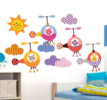 Kolorowa naklejka dekoracyjna przedstawiająca różne zwierzęta latające helikopterami. Oryginalny pomysł na szybką zmianę wnętrza.