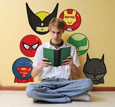 Autocolante infantil pictograma super-heróis