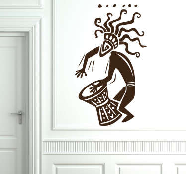 Room Stickers -  African theme decal of a drummer - feel the rhythm. Wall decals for styling your home.