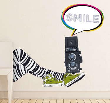 Vinilo decorativo pierna y cámara