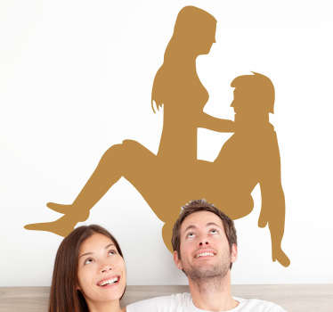 Erotic sticker of a young couple practising a Karma Sutra position.