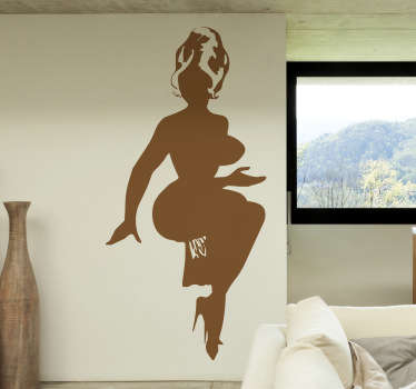 An erotic wall sticker with the silhouette of a voluptuous naked woman with her hair tied up.