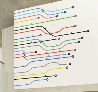 Autocollant mural lignes metro