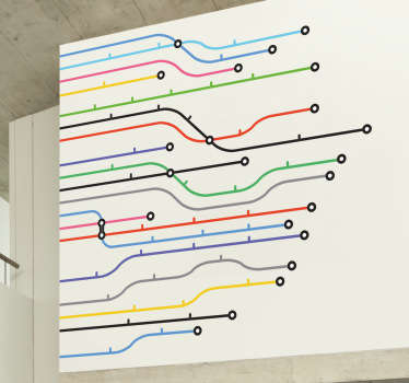 Adesivo murale linee metro