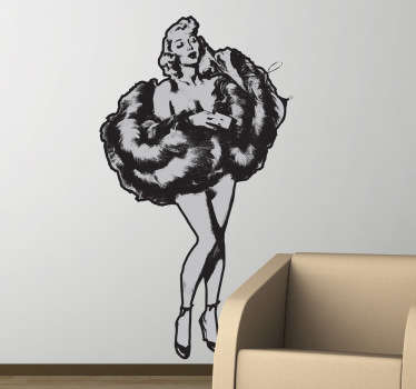 Autocollant mural pinup fourrure