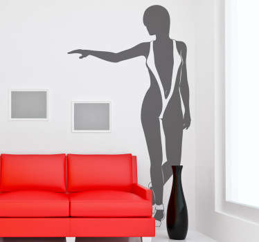 An erotic wall sticker illustrating a woman in a sexy trikini! This seductive silhouette decal is perfect to decorate your bedroom.